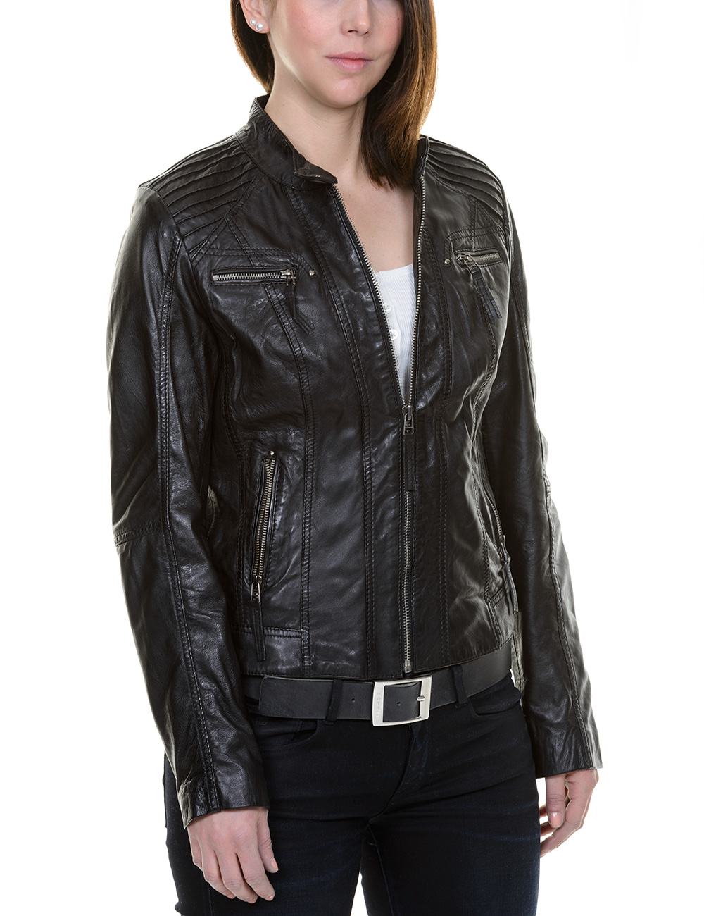 lederjacke bruno banani hawthorne leder jacke f r damen lederjacken frauen biker ebay. Black Bedroom Furniture Sets. Home Design Ideas