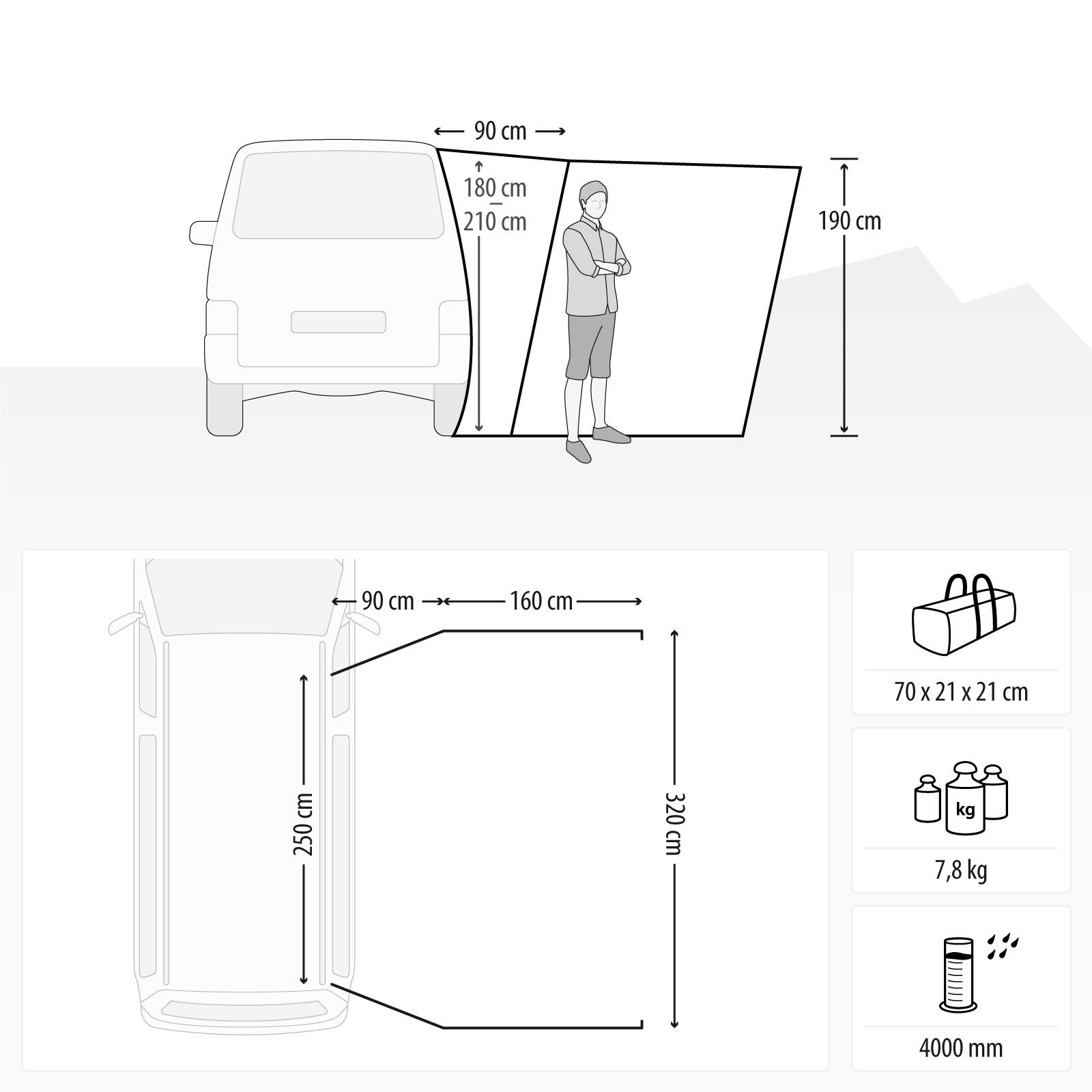 Wohnwagen Busvorzelt Qeedo Motor Canopy Bus Vorzelt Van Tarp UV80 Schutz
