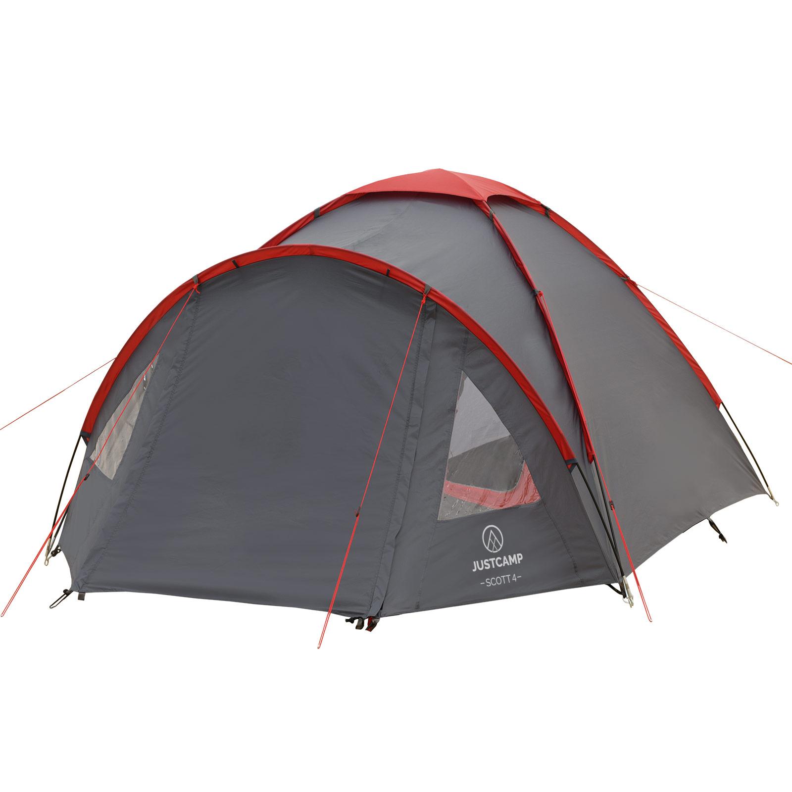 Campingzelt Campingzelt Campingzelt JUSTCAMP Scott 4 Mann Zelt Igluzelt Kuppelzelt für 4 Personen grau 99697b