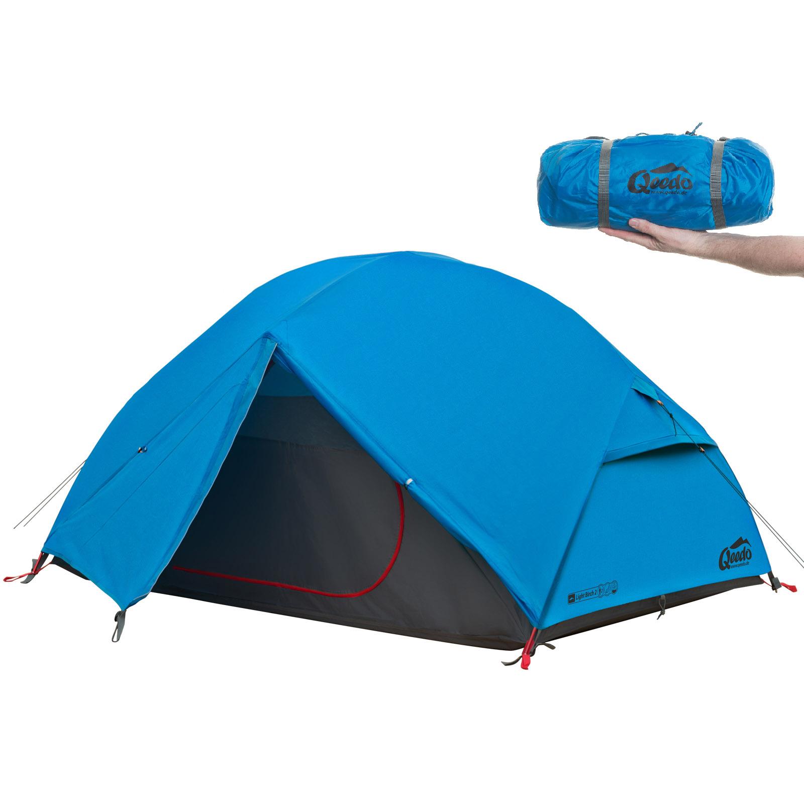 2 mann trekkingzelt qeedo light birch 2 blau personen. Black Bedroom Furniture Sets. Home Design Ideas
